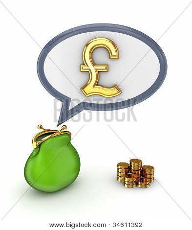 Pound sterling sign and green purse.