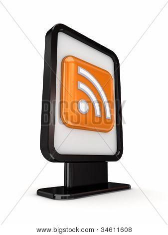 Black lightbox with RSS symbol.