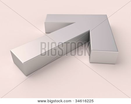 Metal arrow on a light background with a shadow