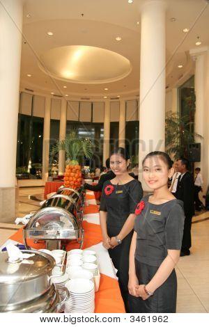 Staff In Buffet Dinner