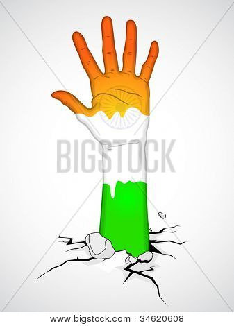 Illustration of a hand in Indian Flag color. EPS 10.