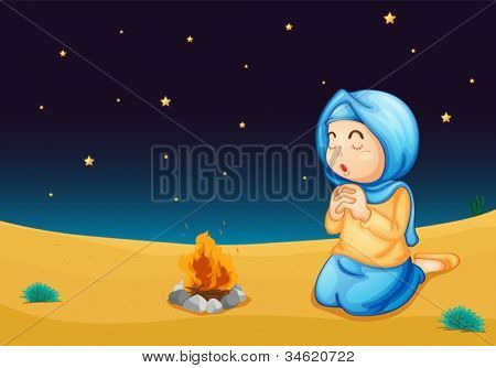 illustration of a girl near fire in dark night