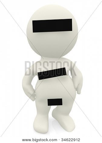 3D censured woman - isolated over a white background