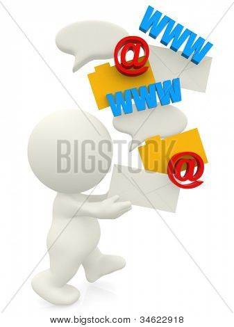 3D man loving communication technology - isolated over a white background