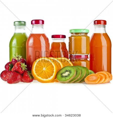 Row of Bottles with juice fruits and berries, baby food  isolated on white