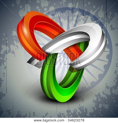 3D abstract Indian Flag icons on Asoka wheel background. EPS 10.
