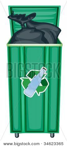 illustration of green dustbin on a white background