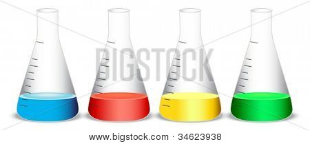 illustration of conical flasks on a white background