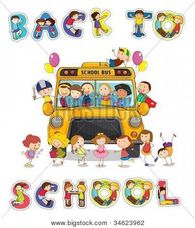 Illustration der Schulbus und englische Wort zurück auf die Schulbank