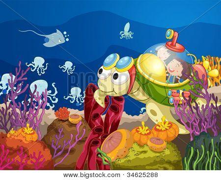ilustração de tartaruga, carregando crianças na água