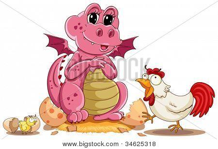 illustration of hen, chicken and baby dinosaur