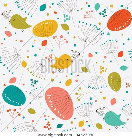 Seamless floral pattern, texture with flowers, leaves,hearts and birds