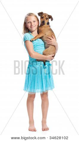 Young Girl Holding Her Dog