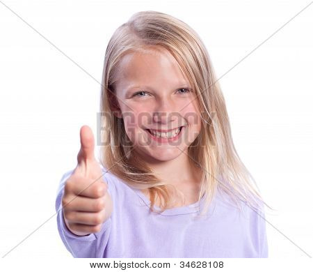 Happy Young Girl Giving Thumbs-up