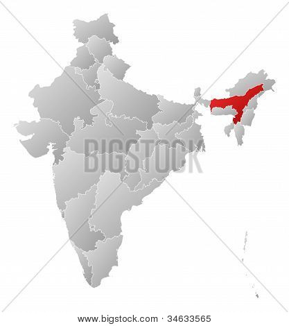 Map Of India, Assam Highlighted