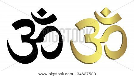 Om Symbol In Black And Gold