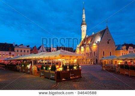 Night Tallinn Town Hall Square
