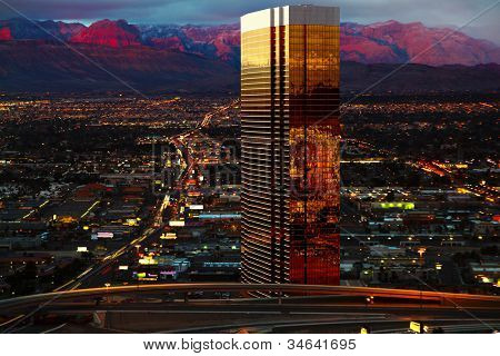 Aerial view of Las Vegas at Sunrise