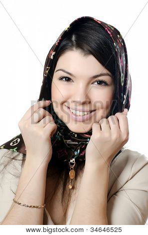 The beautiful girl in scarf, the Moslem