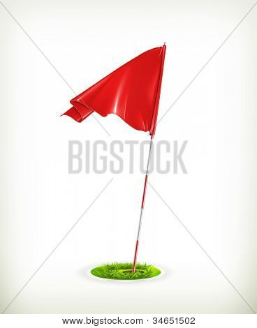 Red golf flag, vector
