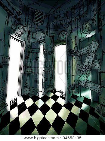 Dark room with many doors