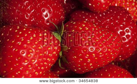 Background Of Luscious Ripe Red Strawberries
