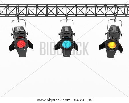 Stage lights on white isolated background. 3d