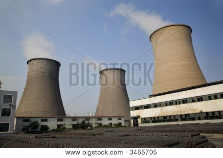 Cooling Towers Coal Fired Electricity Plant Anshan Liaoning Province China