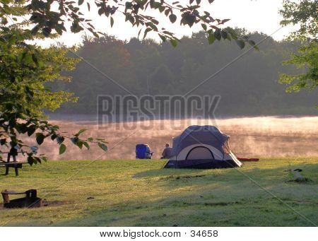 Camping On A Misty Lake