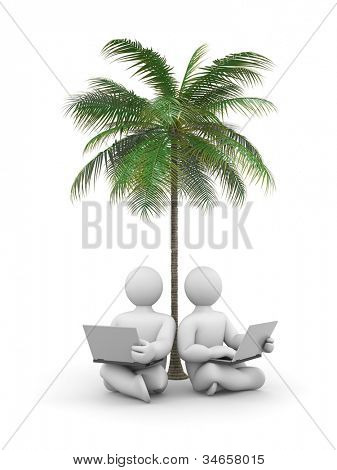 Person working or relax on laptop under a palm tree. Image contain clipping path