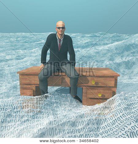 Businessman on desk afloat on binary ocean
