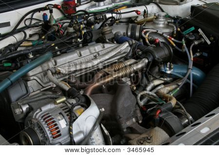 Exposed Racing Car Engine Under The Hood