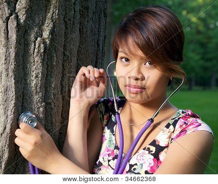 Tree Hugger With Stethoscope
