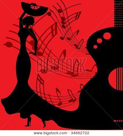 schwarz-roten Hintergrund Flamenco-Tänzerin
