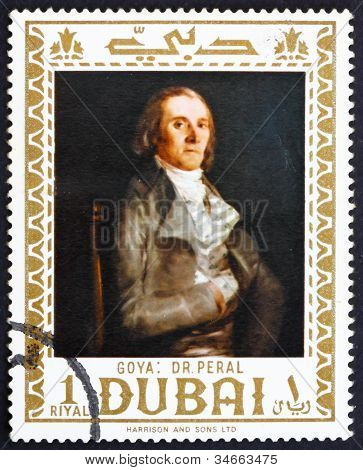 Postage stamp Dubai 1967 Dr. Pearl by Francisco Goya