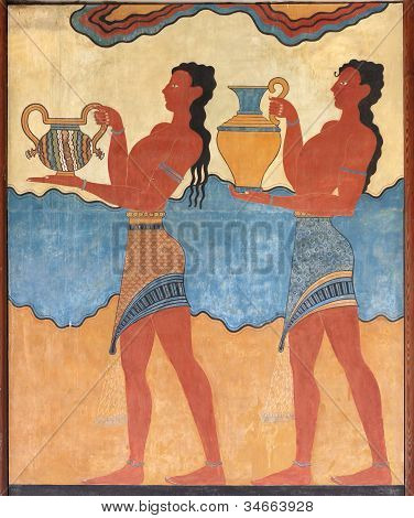 Minoan Figures Mural Painting Fresco