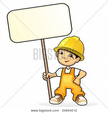 Builder with sign
