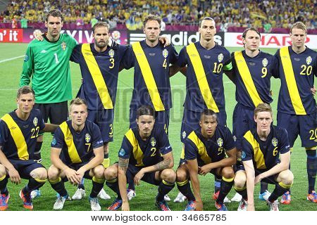 Sweden National Football Team Pose For A Group Photo