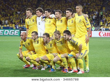 Ukraine National Football Team Pose For A Group Photo