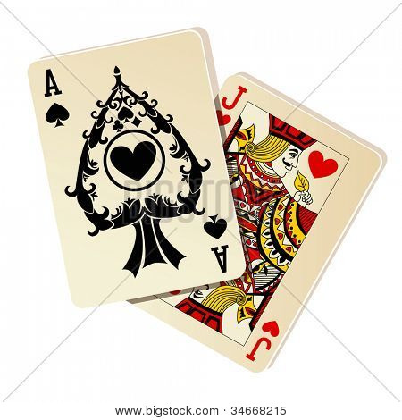 Black Jack. Dos cartas sobre fondo blanco.
