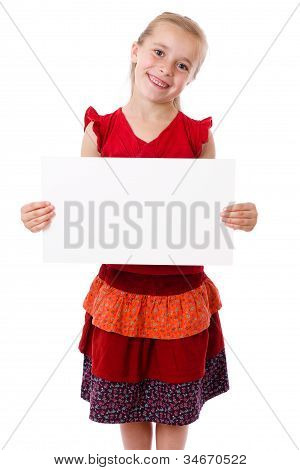 Girl standing with empty blank