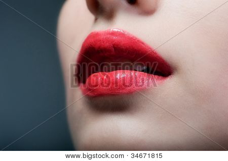 Sensual mouth with red lipstick