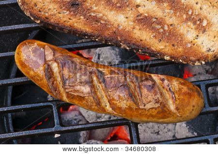 Roasted Sausage On Barbecue