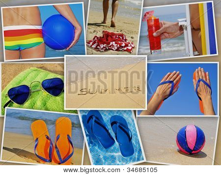 a collage of nine pictures of many beach items and scenes in the summer