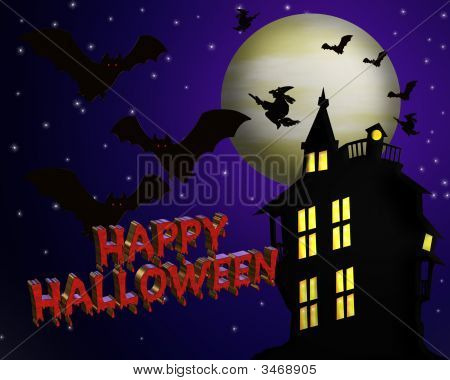Happy Halloween With 3D Text