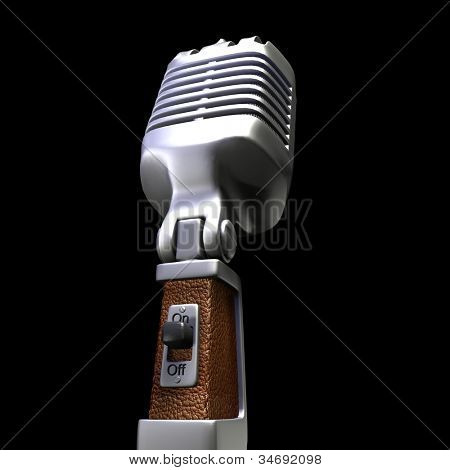 3D rendering of a retro microphone on a black background
