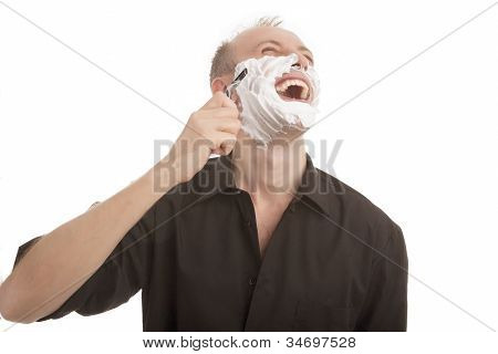 Happy Man Shaving