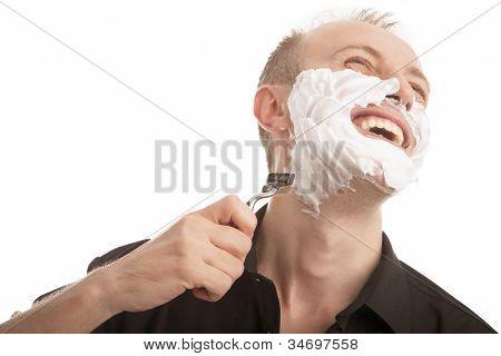 Caucasian Man Shaving