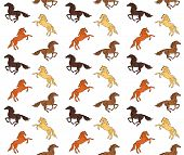 Vector Seamless Equestrian Pattern Of Different Colored Drawn Doodle Sketch Running Horse Isolated O poster