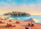 Picturesque Summer View To The Sveti Stefan Island With Private Beach, Luxury Resort On The Adriatic poster